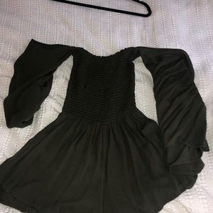 Forest Green Off the Shoulder Romper, Small